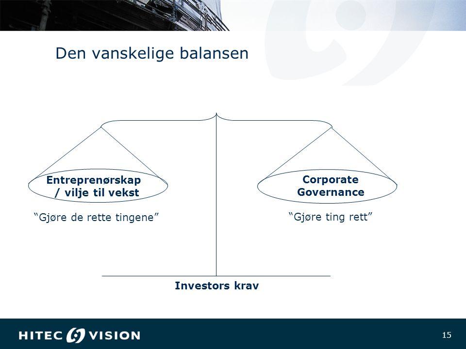 15 Den vanskelige balansen Entreprenørskap / vilje til vekst Gjøre de rette tingene Corporate Governance Gjøre ting rett Investors krav
