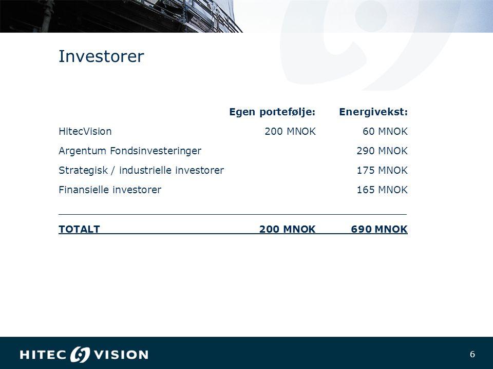 6 6 Investorer Egen portefølje:Energivekst: HitecVision200 MNOK60 MNOK Argentum Fondsinvesteringer 290 MNOK Strategisk / industrielle investorer175 MNOK Finansielle investorer165 MNOK _________________________________________________________ TOTALT200 MNOK690 MNOK