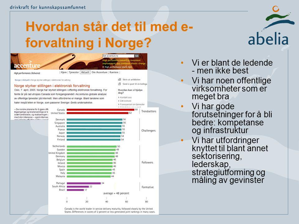 Hvordan står det til med e- forvaltning i Norge? Vi er blant de ledende - men ikke best Vi har noen offentlige virksomheter som er meget bra Vi har go