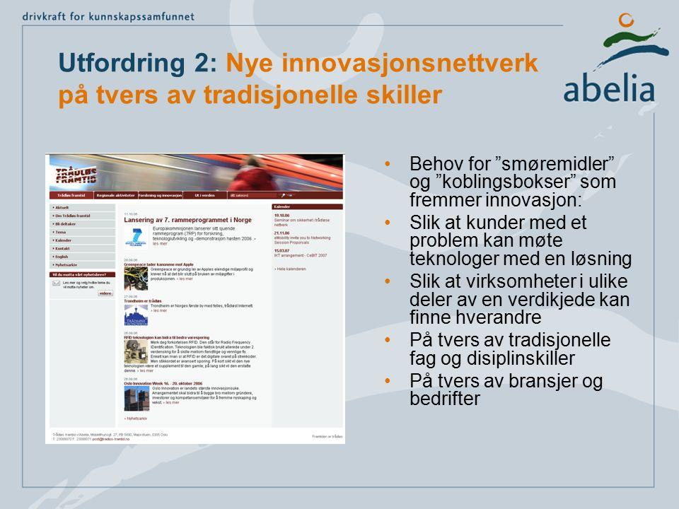 """Utfordring 2: Nye innovasjonsnettverk på tvers av tradisjonelle skiller Behov for """"smøremidler"""" og """"koblingsbokser"""" som fremmer innovasjon: Slik at ku"""