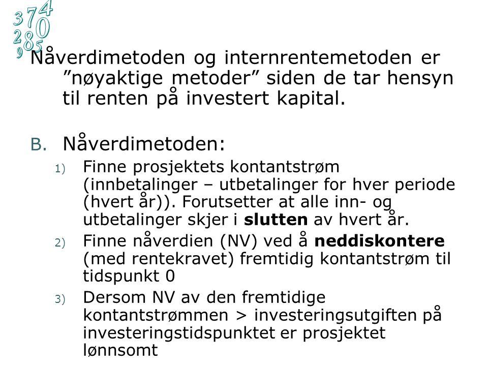 Sammenhengen avkastningskrav og nåverdi for Mini-prosjektet : Internrente