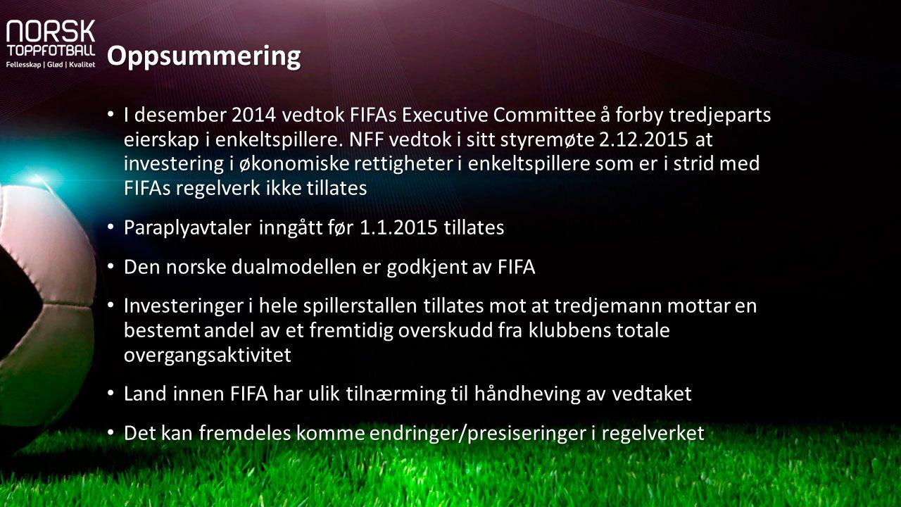 I desember 2014 vedtok FIFAs Executive Committee å forby tredjeparts eierskap i enkeltspillere. NFF vedtok i sitt styremøte 2.12.2015 at investering i
