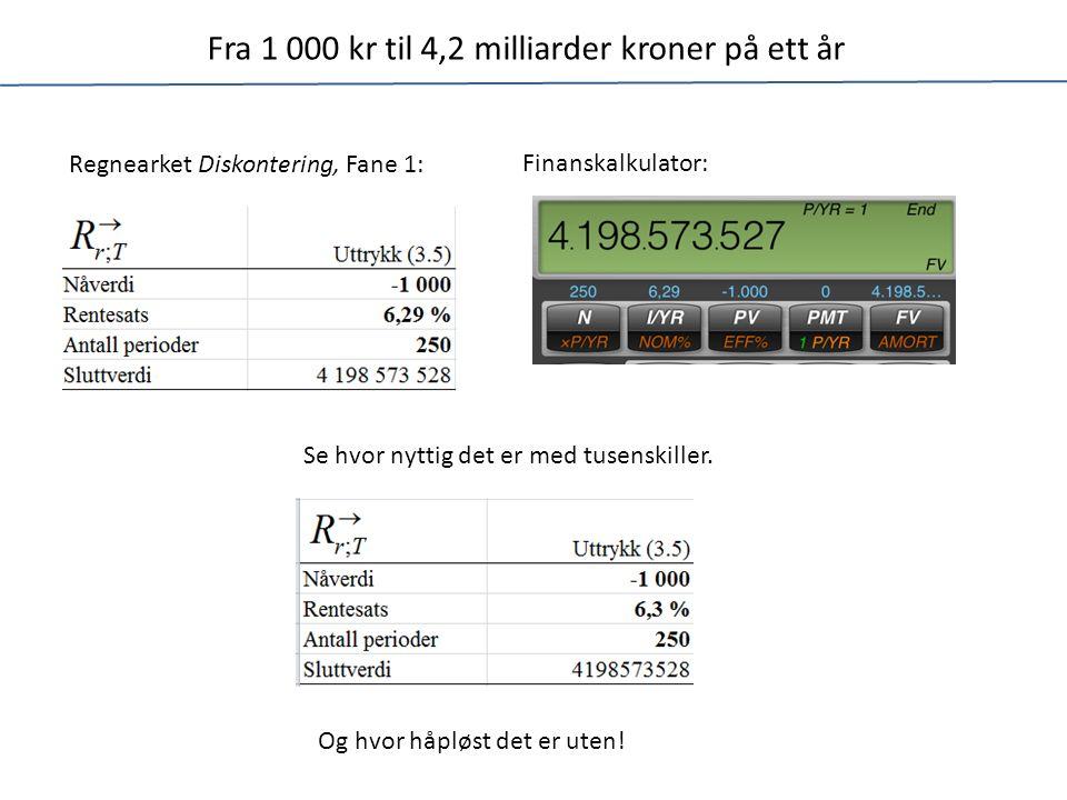 Fra 1 000 kr til 4,2 milliarder kroner på ett år Regnearket Diskontering, Fane 1: Finanskalkulator: Se hvor nyttig det er med tusenskiller.