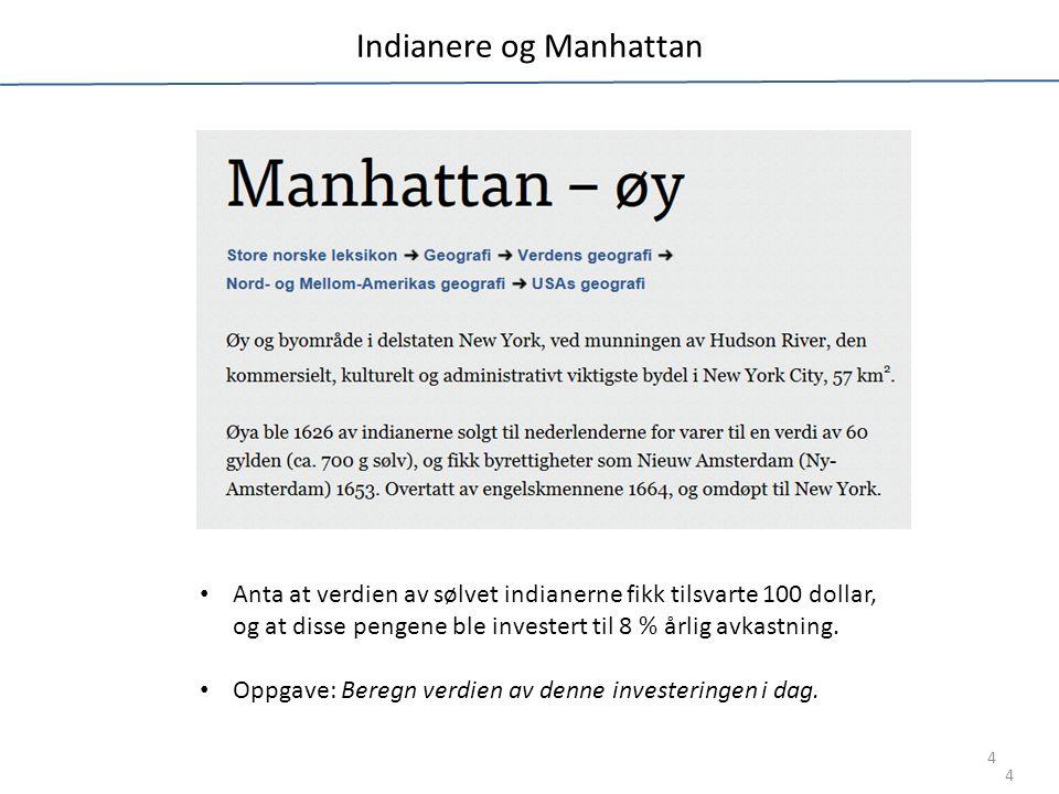 Indianere og Manhattan 4 Anta at verdien av sølvet indianerne fikk tilsvarte 100 dollar, og at disse pengene ble investert til 8 % årlig avkastning.