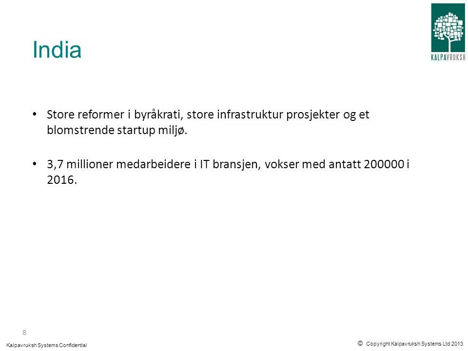 © Copyright Kalpavruksh Systems Ltd 2013 Kalpavruksh Systems Confidential 6 SUKSESSKRITERIER FOR AT NORSKE PROGRAMVARESELSKAPER SKAL LYKKES MED DET INDISKE IT MASKINERIET 9