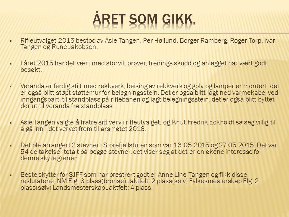  Rifleutvalget 2015 bestod av Asle Tangen, Per Høilund, Borger Ramberg, Roger Torp, Ivar Tangen og Rune Jakobsen.  I året 2015 har det vært med stor