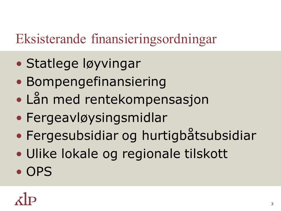 Eksisterande finansieringsordningar Statlege løyvingar Bompengefinansiering Lån med rentekompensasjon Fergeavløysingsmidlar Fergesubsidiar og hurtigbå