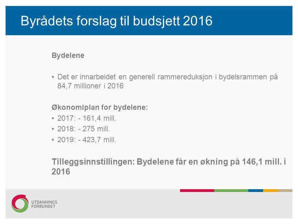 Bydelene Det er innarbeidet en generell rammereduksjon i bydelsrammen på 84,7 millioner i 2016 Økonomiplan for bydelene: 2017: - 161,4 mill.