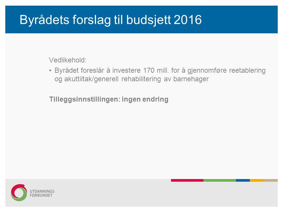 Byrådets forslag til budsjett 2016 Vedlikehold: Byrådet foreslår å investere 170 mill.