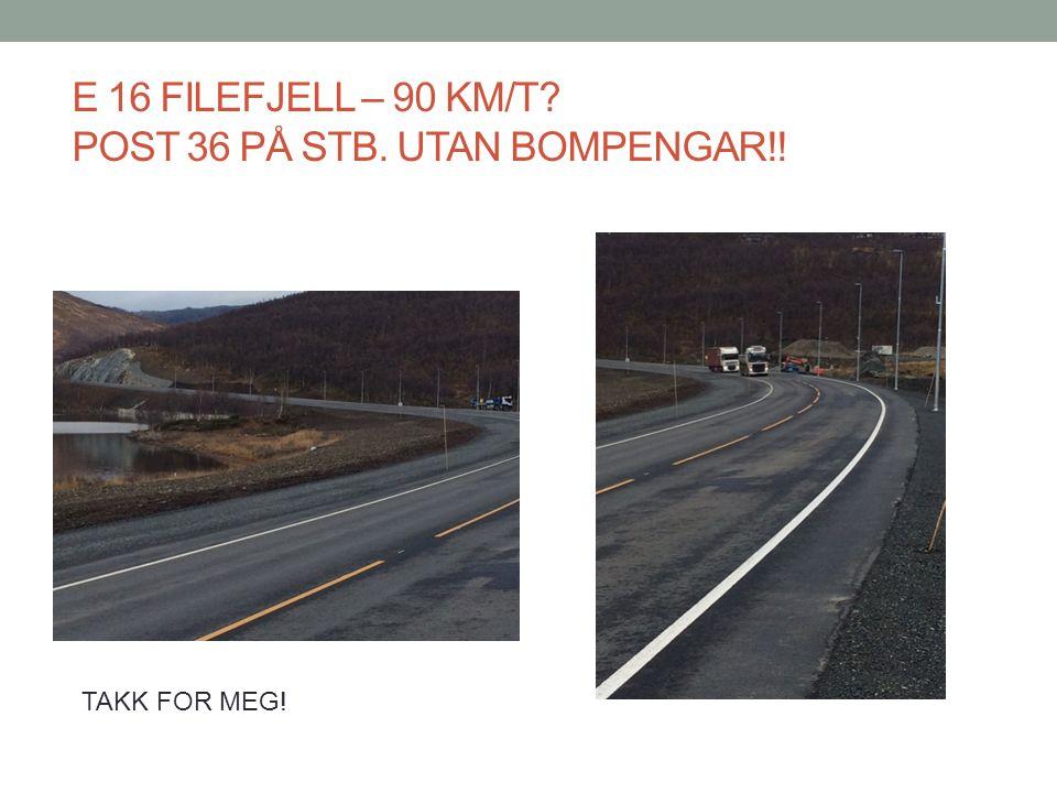 E 16 FILEFJELL – 90 KM/T POST 36 PÅ STB. UTAN BOMPENGAR!! TAKK FOR MEG!