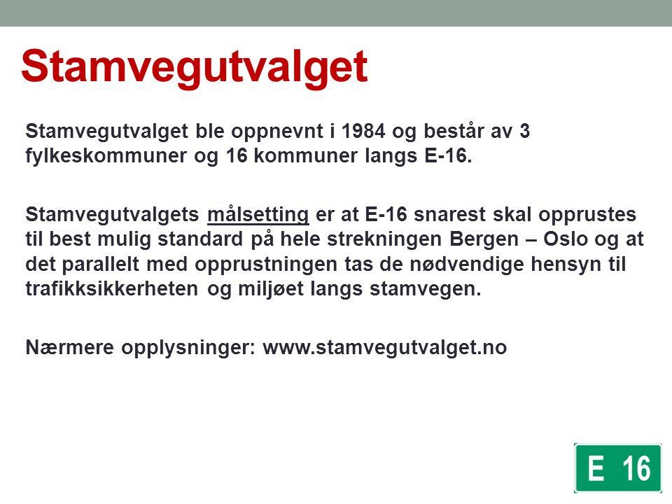 Generelt om E16 Europavegen og stamvegen mellom Oslo og Bergen.
