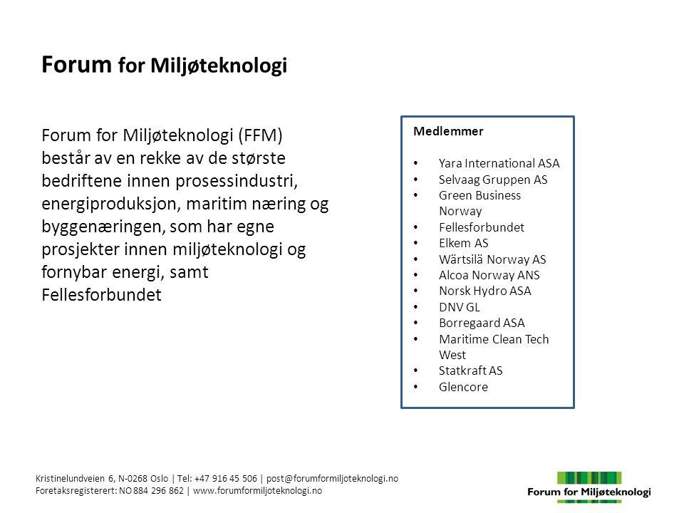 FFMs ambisjon er at norske bedrifter skal være verdensledende i utvikling og bruk av miljøteknologi For å realisere FFMs ambisjon, er det nødvendig med: o Virkemidler som dekker alle faser fra forskning og utvikling, via pilot- og demonstrasjonsanlegg til kommersialisering o Virkemidler som dekker klima- så vel som annen miljøteknologi o Støtte/risikoavlastning av prosjektkostnadene innenfor rammene som gjelder i EØS-området o Effektive virkemidler og en forenklet og mer effektiv søknads- og tildelingsprosess o Et integrert og sømløst «one-stop-shop» virkemiddelapparat o Kontraktsmodeller og gjennomføring av offentlige innkjøp som stimulerer til utvikling av miljøteknologi