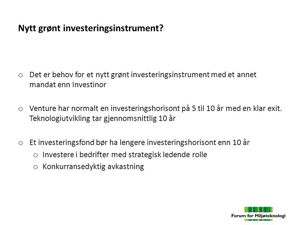Nytt grønt investeringsinstrument.