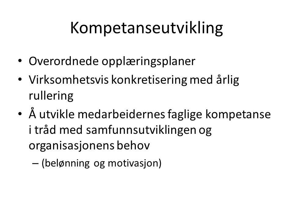 Kompetanseutvikling Overordnede opplæringsplaner Virksomhetsvis konkretisering med årlig rullering Å utvikle medarbeidernes faglige kompetanse i tråd med samfunnsutviklingen og organisasjonens behov – (belønning og motivasjon)