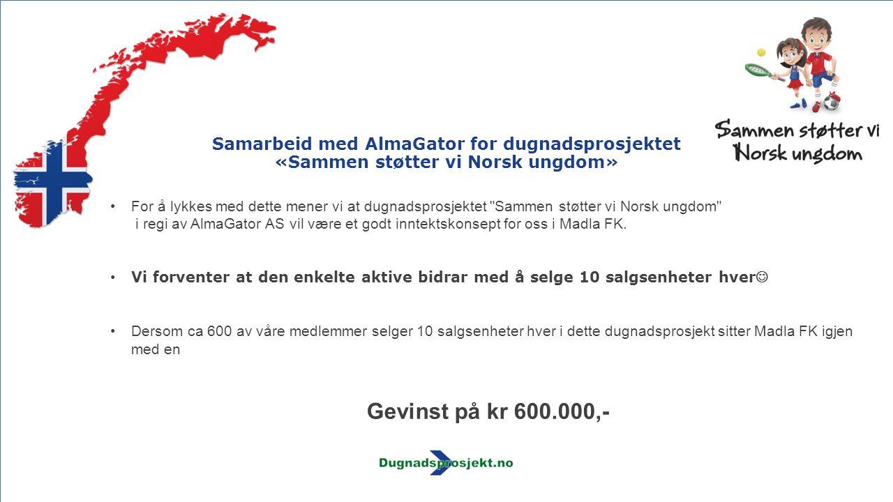 Samarbeid med AlmaGator for dugnadsprosjektet «Sammen støtter vi Norsk ungdom» For å lykkes med dette mener vi at dugnadsprosjektet