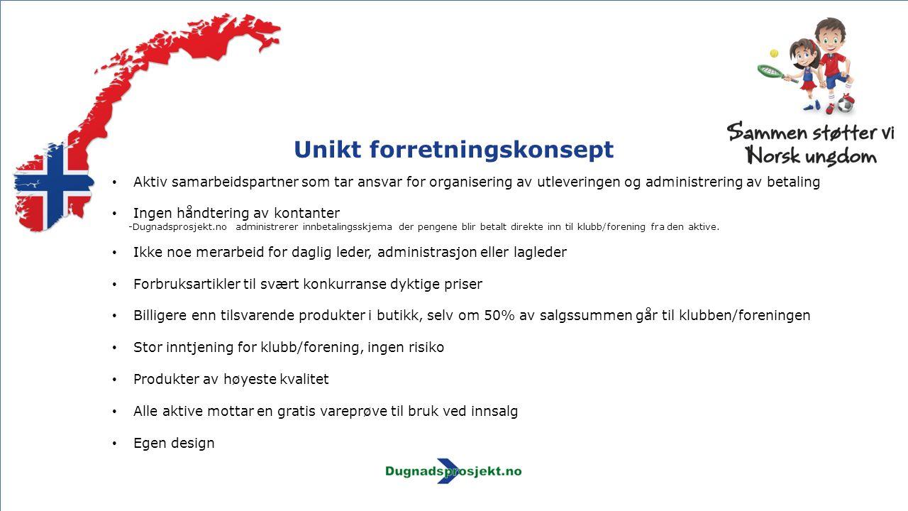 Unikt forretningskonsept Aktiv samarbeidspartner som tar ansvar for organisering av utleveringen og administrering av betaling Ingen håndtering av kon
