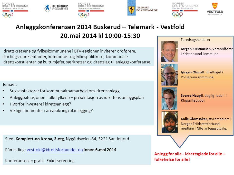 Anleggskonferansen 2014 Buskerud – Telemark - Vestfold 20.mai 2014 kl 10:00-15:30 Temaer: Suksessfaktorer for kommunalt samarbeid om idrettsanlegg Anleggssituasjonen i alle fylkene – presentasjon av idrettens anleggsplan Hvorfor investere i idrettsanlegg.