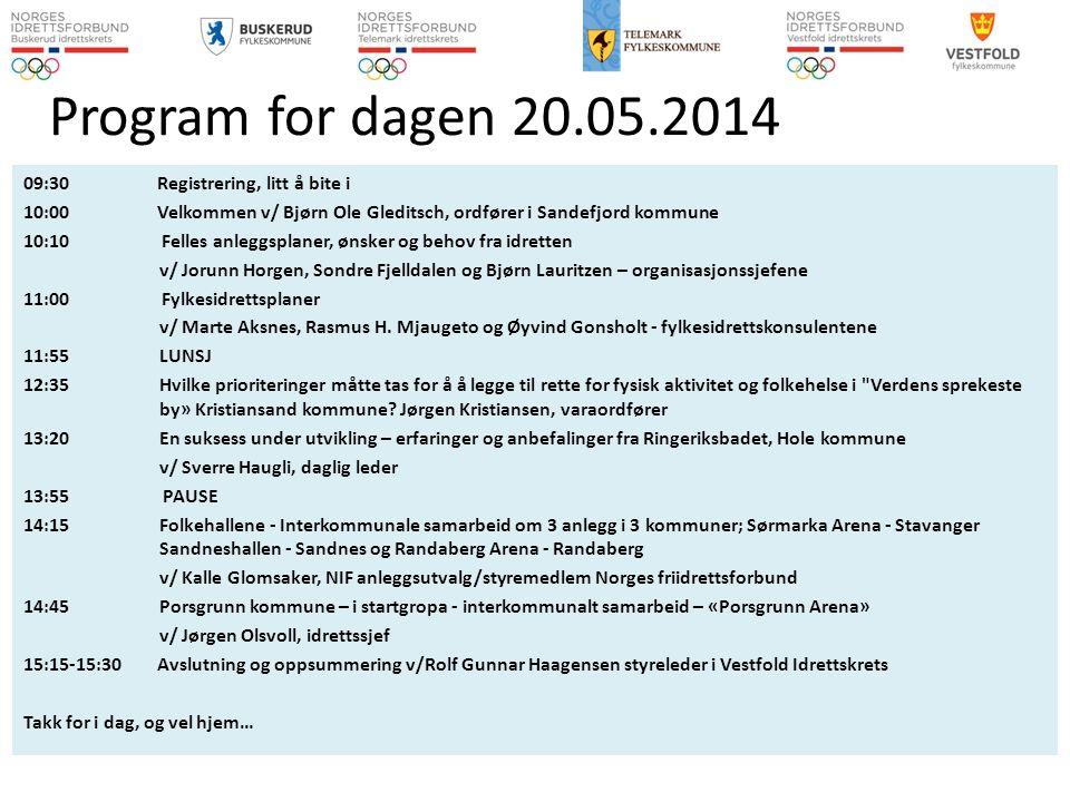 09:30 Registrering, litt å bite i 10:00 Velkommen v/ Bjørn Ole Gleditsch, ordfører i Sandefjord kommune 10:10 Felles anleggsplaner, ønsker og behov fr
