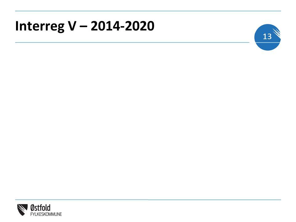 Interreg V – 2014-2020 13
