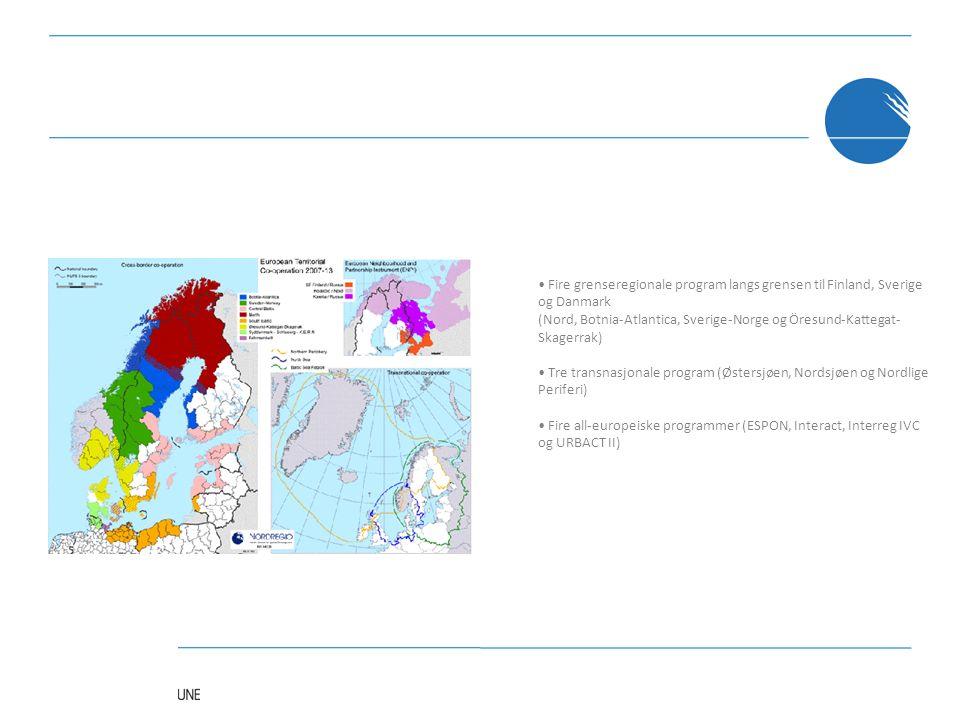Fire grenseregionale program langs grensen til Finland, Sverige og Danmark (Nord, Botnia-Atlantica, Sverige-Norge og Öresund-Kattegat- Skagerrak) Tre transnasjonale program (Østersjøen, Nordsjøen og Nordlige Periferi) Fire all-europeiske programmer (ESPON, Interact, Interreg IVC og URBACT II)