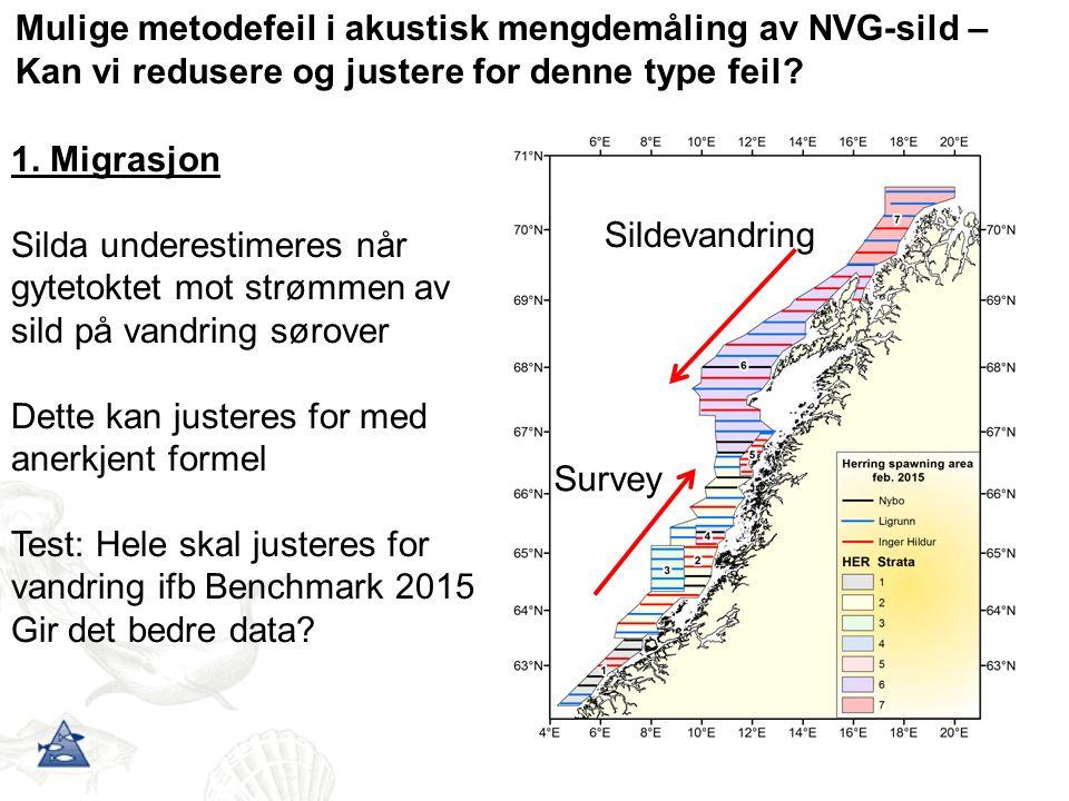Mulige metodefeil i akustisk mengdemåling av NVG-sild – Kan vi redusere og justere for denne type feil? Sildevandring Survey 1. Migrasjon Silda undere