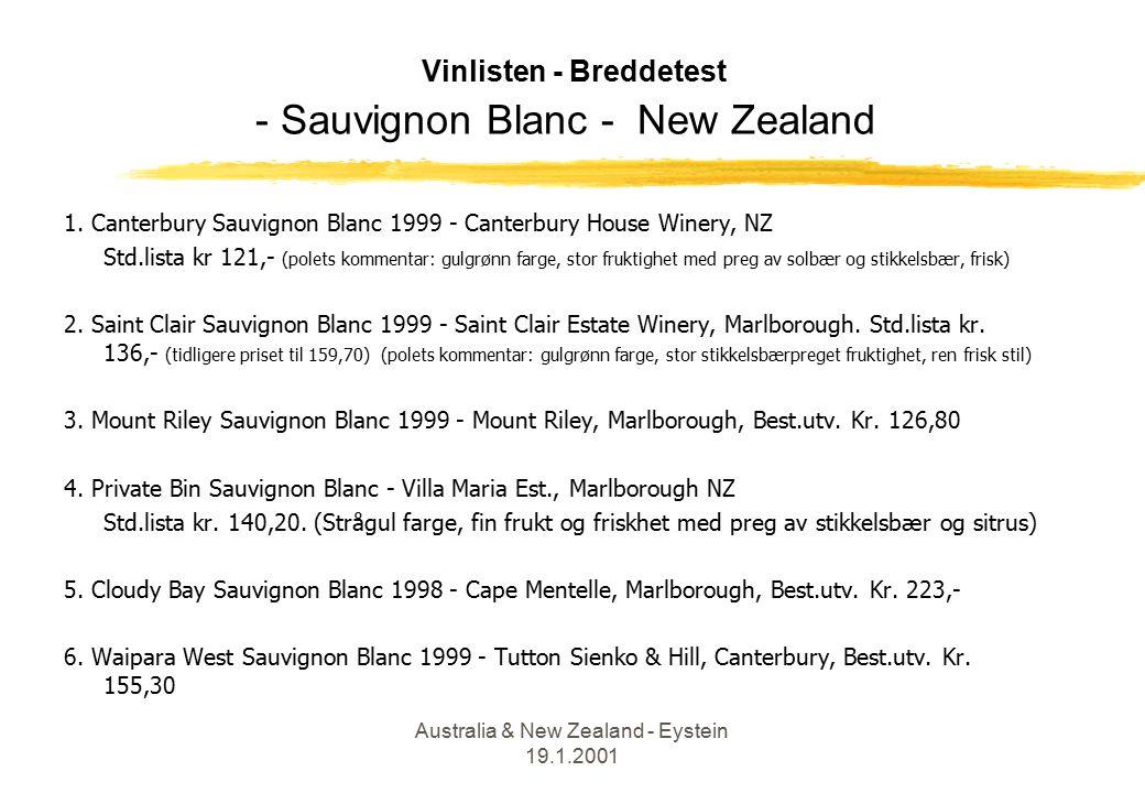 Australia & New Zealand - Eystein 19.1.2001 Vinlisten - Breddetest - Sauvignon Blanc - New Zealand 1.
