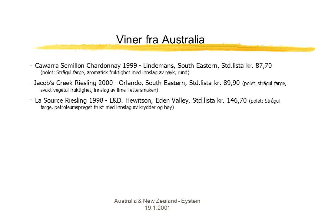Australia & New Zealand - Eystein 19.1.2001 Viner fra Australia - Cawarra Semillon Chardonnay 1999 - Lindemans, South Eastern, Std.lista kr.