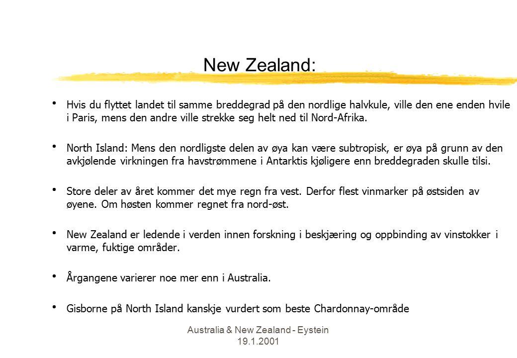 Australia & New Zealand - Eystein 19.1.2001 New Zealand:  Hvis du flyttet landet til samme breddegrad på den nordlige halvkule, ville den ene enden hvile i Paris, mens den andre ville strekke seg helt ned til Nord-Afrika.