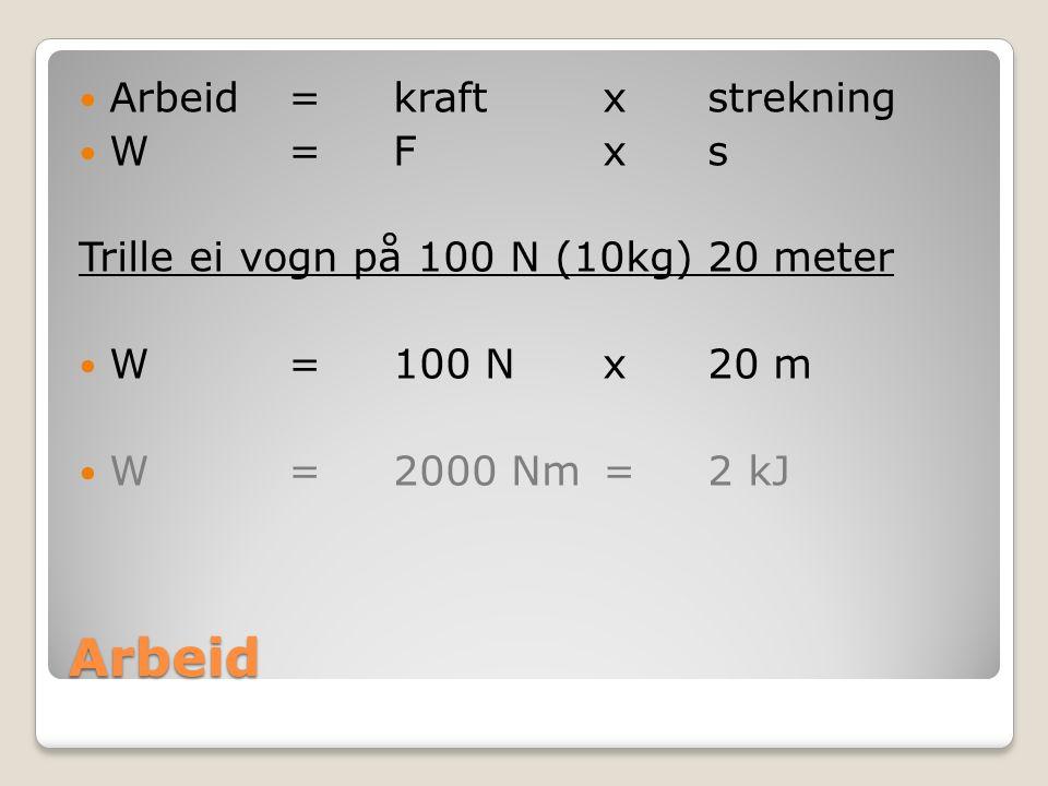 Arbeid Arbeid = kraft x strekning W=Fxs Trille ei vogn på 100 N (10kg) 20 meter W=100 Nx20 m W=2000 Nm=2 kJ
