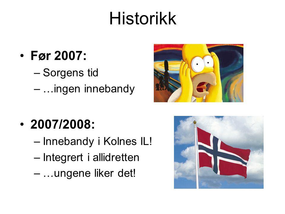 Historikk Før 2007: –Sorgens tid –…ingen innebandy 2007/2008: –Innebandy i Kolnes IL! –Integrert i allidretten –…ungene liker det!