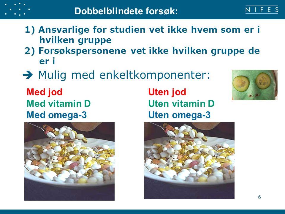 1) Ansvarlige for studien vet ikke hvem som er i hvilken gruppe 2) Forsøkspersonene vet ikke hvilken gruppe de er i  Mulig med enkeltkomponenter: 6 Dobbelblindete forsøk: Med jod Uten jod Med vitamin D Uten vitamin D Med omega-3 Uten omega-3