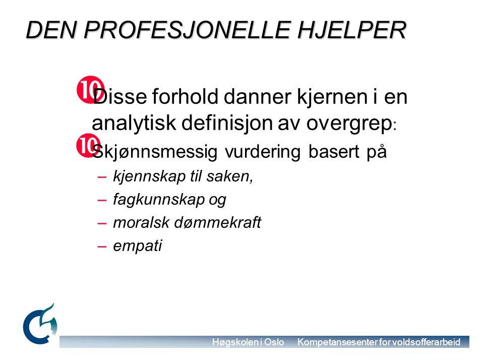 Høgskolen i Oslo Kompetansesenter for voldsofferarbeid Hva er overgrep mot eldre (1)  Overgrep mot eldre er en enkelt eller gjentatt handlinger eller mangel på riktige handlinger som skjer i ethvert forhold hvor det er en forventning om tillit, og som forårsaker skade på, nød eller lidelse for en eldre person