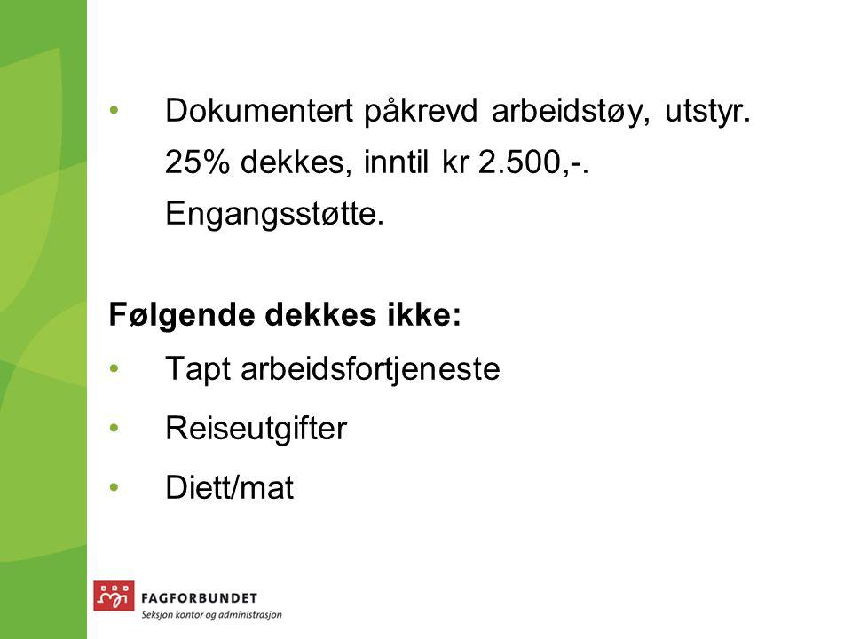 Dokumentert påkrevd arbeidstøy, utstyr. 25% dekkes, inntil kr 2.500,-.