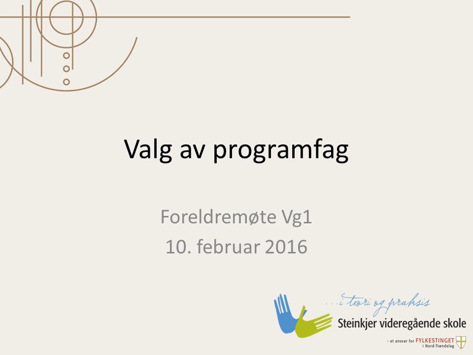 Valg av programfag Foreldremøte Vg1 10. februar 2016
