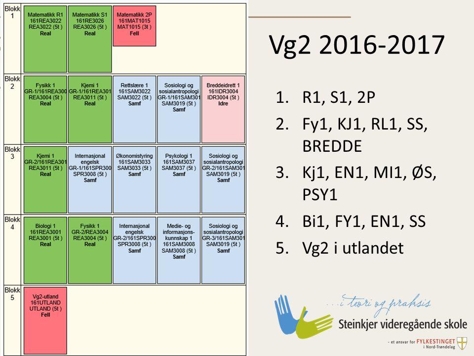 Vg2 2016-2017 1.R1, S1, 2P 2.Fy1, KJ1, RL1, SS, BREDDE 3.Kj1, EN1, MI1, ØS, PSY1 4.Bi1, FY1, EN1, SS 5.Vg2 i utlandet