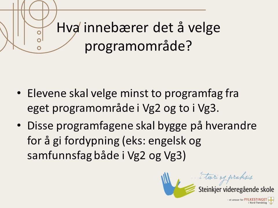 Hva innebærer det å velge programområde? Elevene skal velge minst to programfag fra eget programområde i Vg2 og to i Vg3. Disse programfagene skal byg