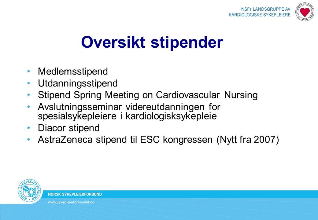 Oversikt stipender Medlemsstipend Utdanningsstipend Stipend Spring Meeting on Cardiovascular Nursing Avslutningsseminar videreutdanningen for spesialsykepleiere i kardiologisksykepleie Diacor stipend AstraZeneca stipend til ESC kongressen (Nytt fra 2007)