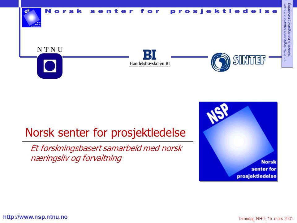 http://www.nsp.ntnu.no Et forskningsbasert samarbeid mellom akademia, næringsliv og forvaltning Norsk senter for prosjektledelse Et forskningsbasert samarbeid med norsk næringsliv og forvaltning Temadag NHO, 15.