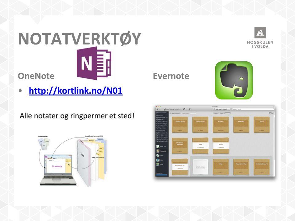NOTATVERKTØY OneNote http://kortlink.no/N01 Evernote