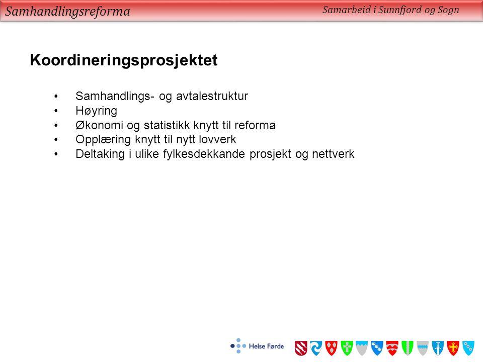 Samhandlingsreforma Samarbeid i Sunnfjord og Sogn Koordineringsprosjektet Samhandlings- og avtalestruktur Høyring Økonomi og statistikk knytt til refo