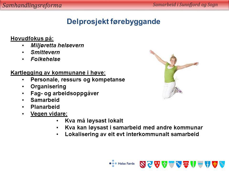 Samhandlingsreforma Samarbeid i Sunnfjord og Sogn Delprosjekt førebyggande Hovudfokus på: Miljøretta helsevern Smittevern Folkehelse Kartlegging av ko