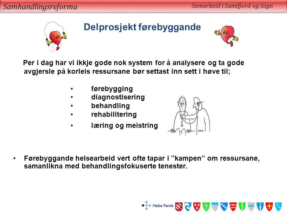 Samhandlingsreforma Samarbeid i Sunnfjord og Sogn Delprosjekt førebyggande Per i dag har vi ikkje gode nok system for å analysere og ta gode avgjersle