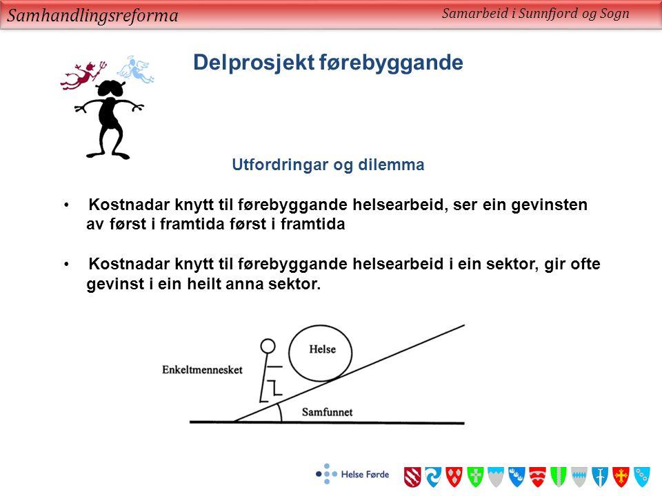 Samhandlingsreforma Samarbeid i Sunnfjord og Sogn Delprosjekt førebyggande Utfordringar og dilemma Kostnadar knytt til førebyggande helsearbeid, ser e