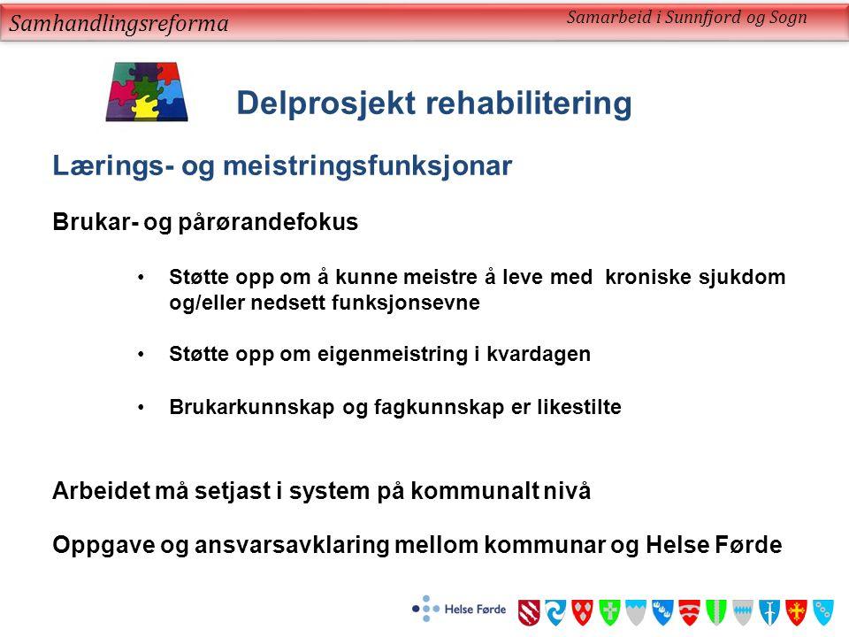 Samhandlingsreforma Samarbeid i Sunnfjord og Sogn Delprosjekt rehabilitering Lærings- og meistringsfunksjonar Brukar- og pårørandefokus Støtte opp om