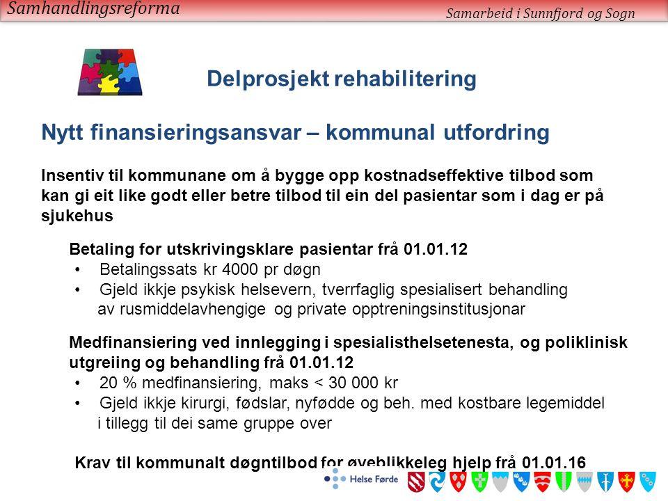 Samhandlingsreforma Samarbeid i Sunnfjord og Sogn Delprosjekt rehabilitering Nytt finansieringsansvar – kommunal utfordring Insentiv til kommunane om