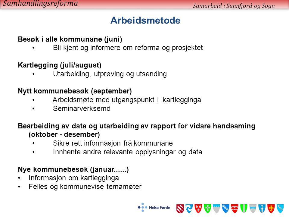 Samhandlingsreforma Samarbeid i Sunnfjord og Sogn Arbeidsmetode Besøk i alle kommunane (juni) Bli kjent og informere om reforma og prosjektet Kartlegg