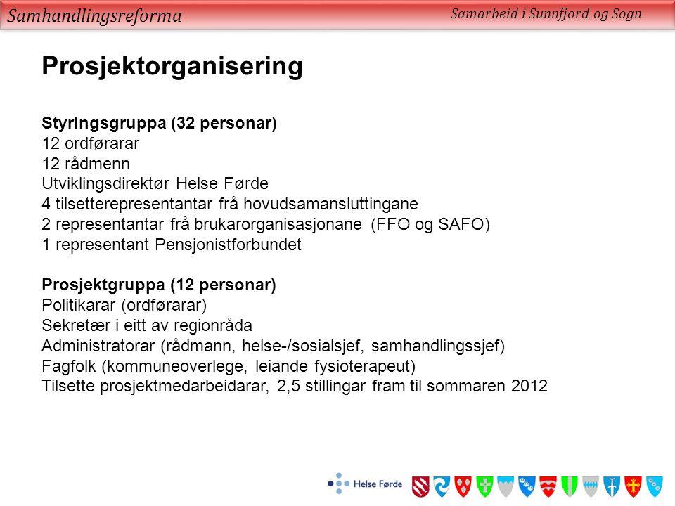 Samhandlingsreforma Samarbeid i Sunnfjord og Sogn Prosjektorganisering Styringsgruppa (32 personar) 12 ordførarar 12 rådmenn Utviklingsdirektør Helse