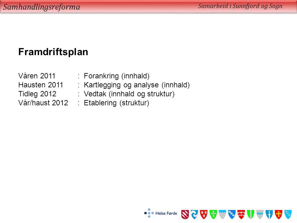 Samhandlingsreforma Samarbeid i Sunnfjord og Sogn Framdriftsplan Våren 2011: Forankring (innhald) Hausten 2011: Kartlegging og analyse (innhald) Tidleg 2012: Vedtak (innhald og struktur) Vår/haust 2012: Etablering (struktur)