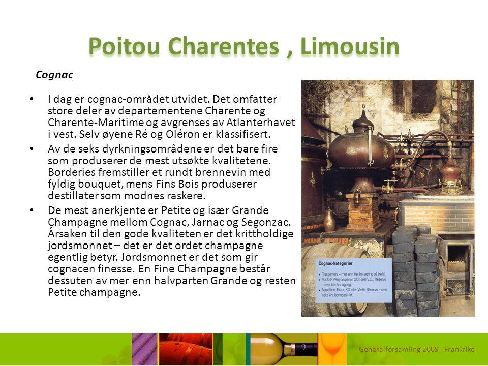 Poitou Charentes, Limousin I dag er cognac-området utvidet. Det omfatter store deler av departementene Charente og Charente-Maritime og avgrenses av A