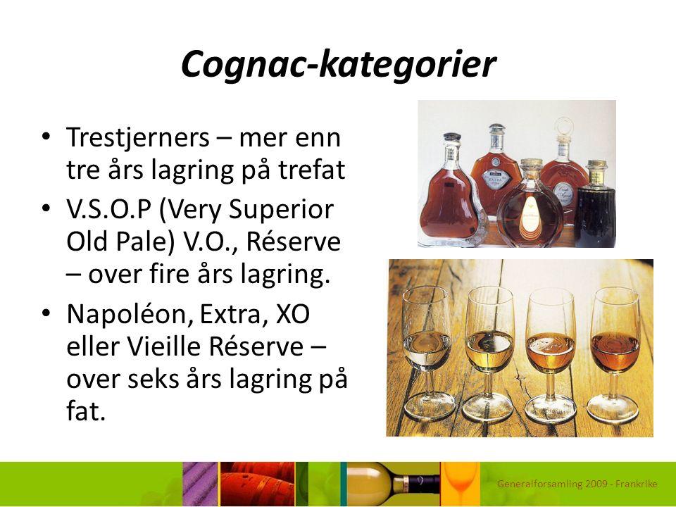 Cognac-kategorier Trestjerners – mer enn tre års lagring på trefat V.S.O.P (Very Superior Old Pale) V.O., Réserve – over fire års lagring. Napoléon, E